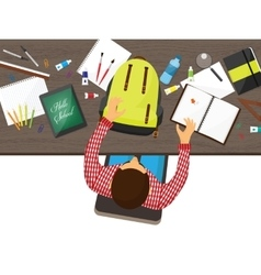 Back to school flat background Online education vector image