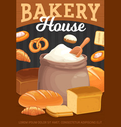 bakery bread pastry and flour bag poster vector image