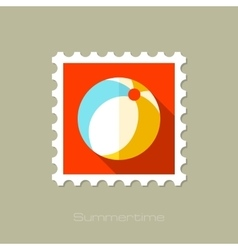 Beach Ball flat stamp with long shadow vector