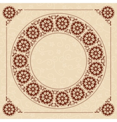 beige seamless background with floral frame vector image