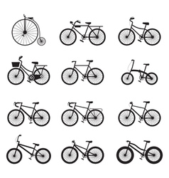 Bicycle Types Objects Icons Set vector