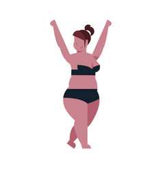 Bikini thick woman hands up black swimsuit on vector