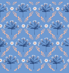 Blue and peach detailed floral lattice vector