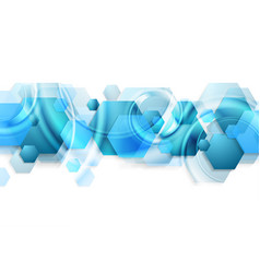bright blue glossy hexagons abstract background vector image