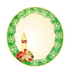 Button circle Christmas Spruce with candle vector image