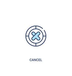 Cancel concept 2 colored icon simple line element vector