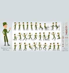 Cartoon flat soldier boy character big set vector