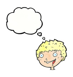 cartoon laughing boy with thought bubble vector image