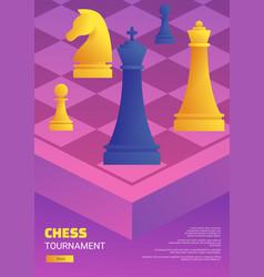 Chess tournament web flyer template vector