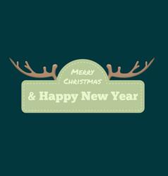 chrismtas typographic label with deer horn vector image