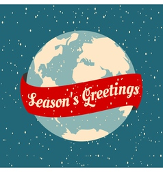 christmas greeting card with the earth globe vector image