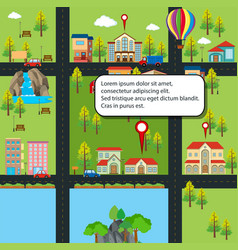 city map with houses and roads vector image