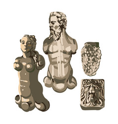 Collection ancient statues a muscular man vector