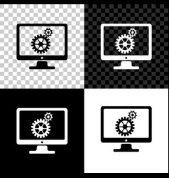 computer monitor and gears icon on black white vector image