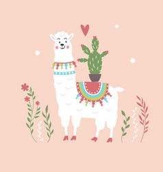 Cute llama with cactus on pink background vector