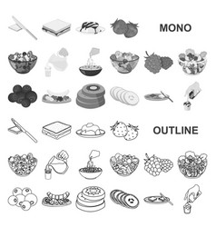 Dessert fragrant monochrom icons in set collection vector