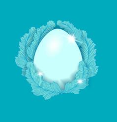 Easter egg element on the blue background vector