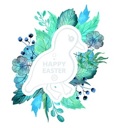 Easter watercolor natural with duckling sticker vector