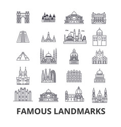 Famous landmark sights world place world travel vector