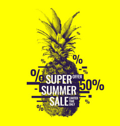 fashionable modern poster with pineapple summer vector image