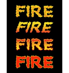 Fire textFlame typography Burning letters fiery vector