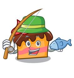 Fishing sponge cake mascot cartoon vector