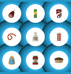 Flat icon meal set of bratwurst sack spaghetti vector