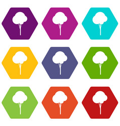 fluffy tree icon set color hexahedron vector image