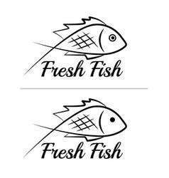 fresh fish logo symbol sign black colored set vector image
