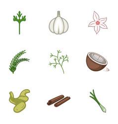 Garlic icons set cartoon style vector