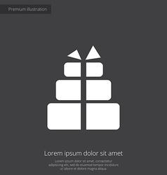 Gift premium icon white on dark background vector