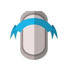 Gray shield badge shadow blue ribbon shadow vector
