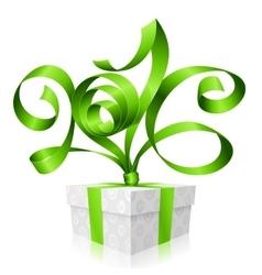 Green ribbon and gift box 2016 vector