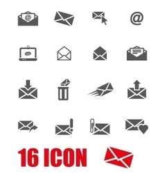 grey email icon set vector image