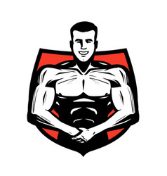 Gym sport logo or label bodybuilder muscles vector