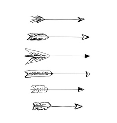 Hand-drawn arrows with feathers vector