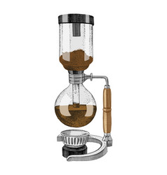 Hand drawn siphon coffee maker icon vector