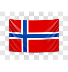 hanging flag norway kingdom norway vector image