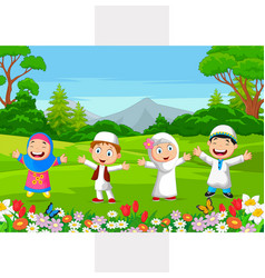 happy muslim kids playing in park vector image