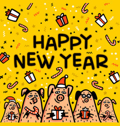 Happy new year pig yellow greeting card funny vector