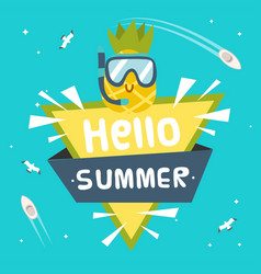 hello summer ribbon pineapple wear snorkel triangl vector image