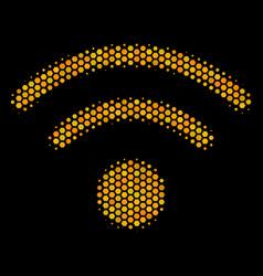 hexagon halftone wi-fi icon vector image