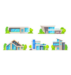 house building cottages homes real estate icons vector image
