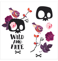 human skull on flower blossom bird print poster vector image