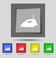 Iron icon sign on original five colored buttons vector