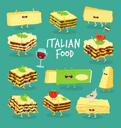 italian food set lasagna cheese and wine vector image