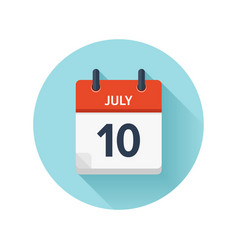 July 10 flat daily calendar icon date and vector