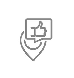 location pin with thumb up line icon favorite vector image