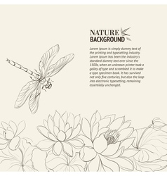 Lotus flower and dragonfly vector