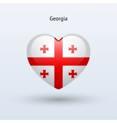 Love georgia symbol heart flag icon vector